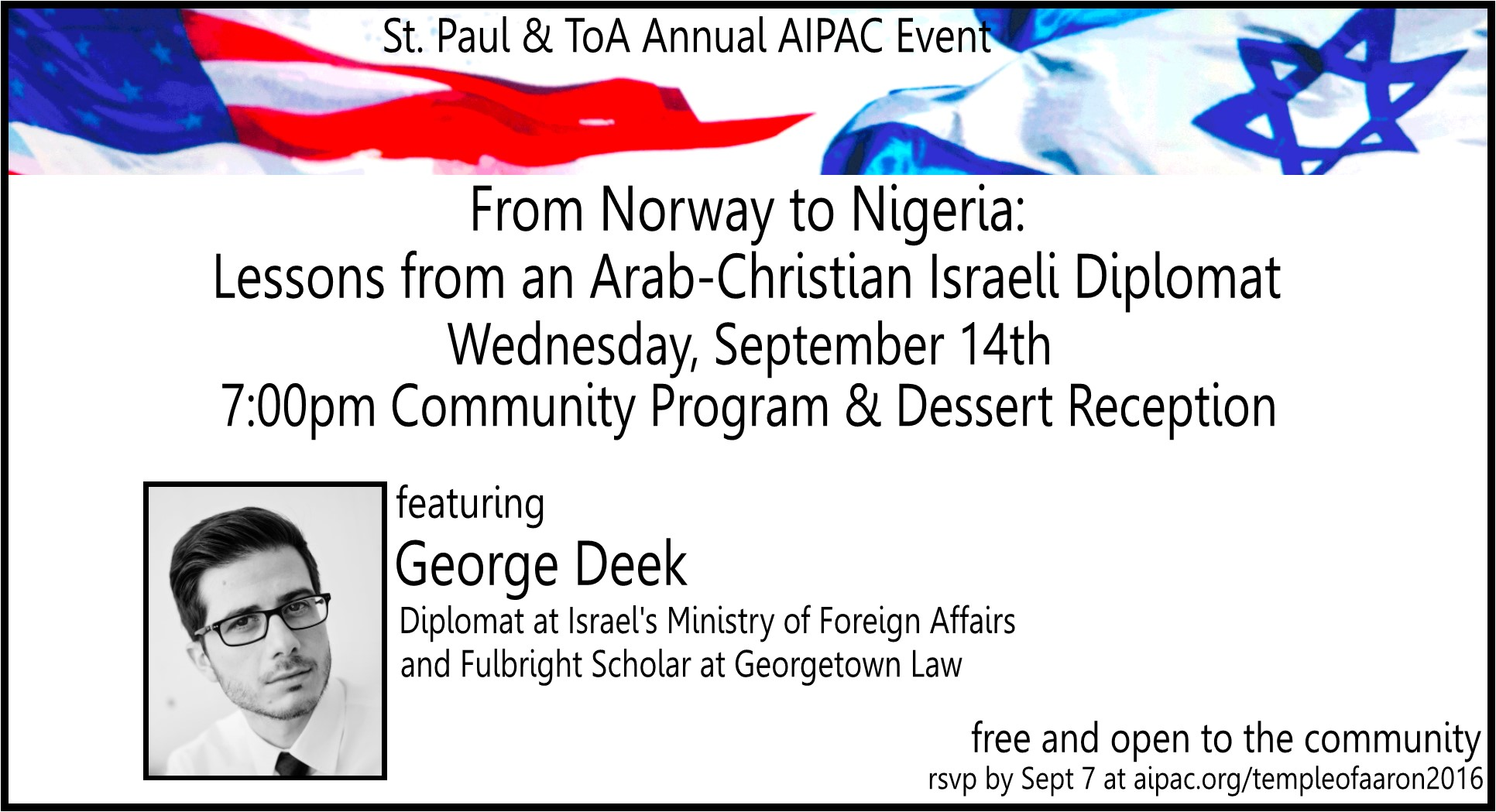 AIPAC Speaker at Temple of Aaron