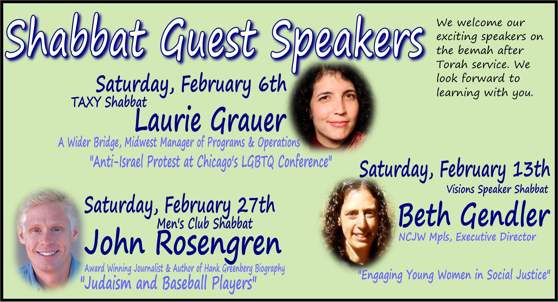 February Shabbat Speakers
