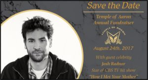 Actor Josh Radnor will be our guest on Thursday, August 24th.  Contact Executive Director Ken Agranoff with ticket requests.