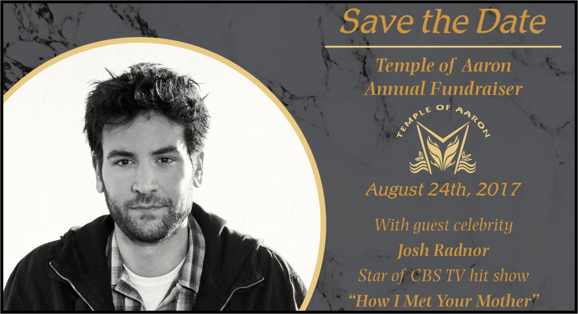 Josh Radnor at Temple of Aaron's Annual Fundraiser